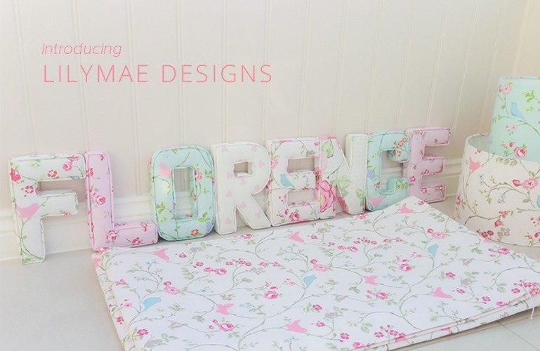 Florence Fabric letters name. Made to measure curtains and lampshades. Made in Studio G Bird Trail Chintz, Rosebud Rose, Bird Trail Seafoam, Pink Love Hearts, Bird Trail Rose, English Rose Chintz. Floral patterns. Handmade to order.