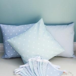 Blue Cushion Covers Fabric wall bunting first birthday. Dotty powder blue, baby blue gingham, dotty sky. Boys room bunting. Blue nursery decor handmade to order Colchester Essex