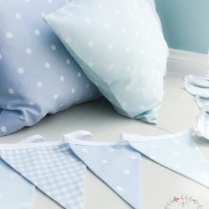 blue fabric bunting custom lengths available