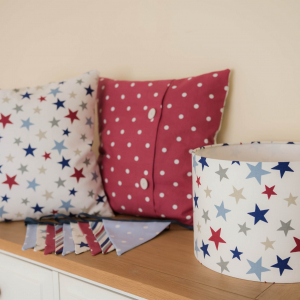 Cushion Cover personalised red lampshade red and grey star themed nursery boys room. 30cm ceiling light shade