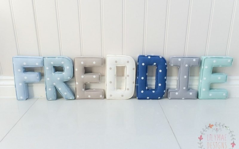 Freddie fabric letters, all in dotty fabrics blue, taupe, natural, navy, grey, Seafoam
