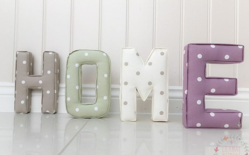 Home Fabric Letter Sets H - Dotty Taupe, O - Dotty Sage, M - Dotty Natural, E - Dotty Mauve ★ Lilymae Designs ★ New home gift First home present