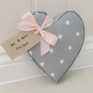 Fabric Hearts Mr & Mrs personalised gift. Dotty Grey fabric. Ideal gift for Mothers day, Nan, Teacher, sister, twins, wedding