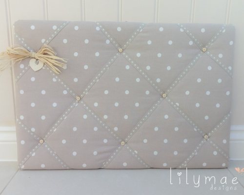 Personalised home decor. Dotty taupe fabric memo board. Mothers Day Christmas present for Mum