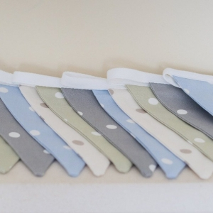 Fabric Wall Bunting in neutral tones. Play room bunting, tree house bunting. Sage, Blue, Grey, Taupe Wedding Bunting. Kids bunting