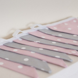 Fabric wall bunting in pink & grey for baby nursery or childrens bedroom. Dotty Rose & Dotty Smokey Grey. Over 100 fabrics to choose from