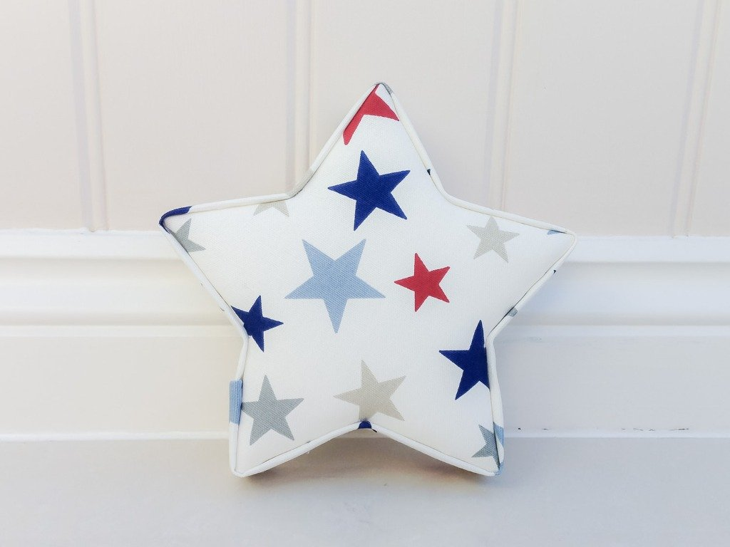 Fabric Star Set nursery wall decor. Boys room ideas red and blue grey star decor