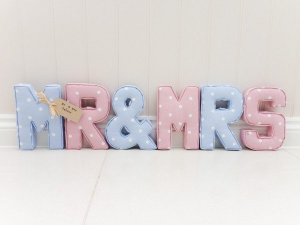 Mr & Mrs Fabric Letters
