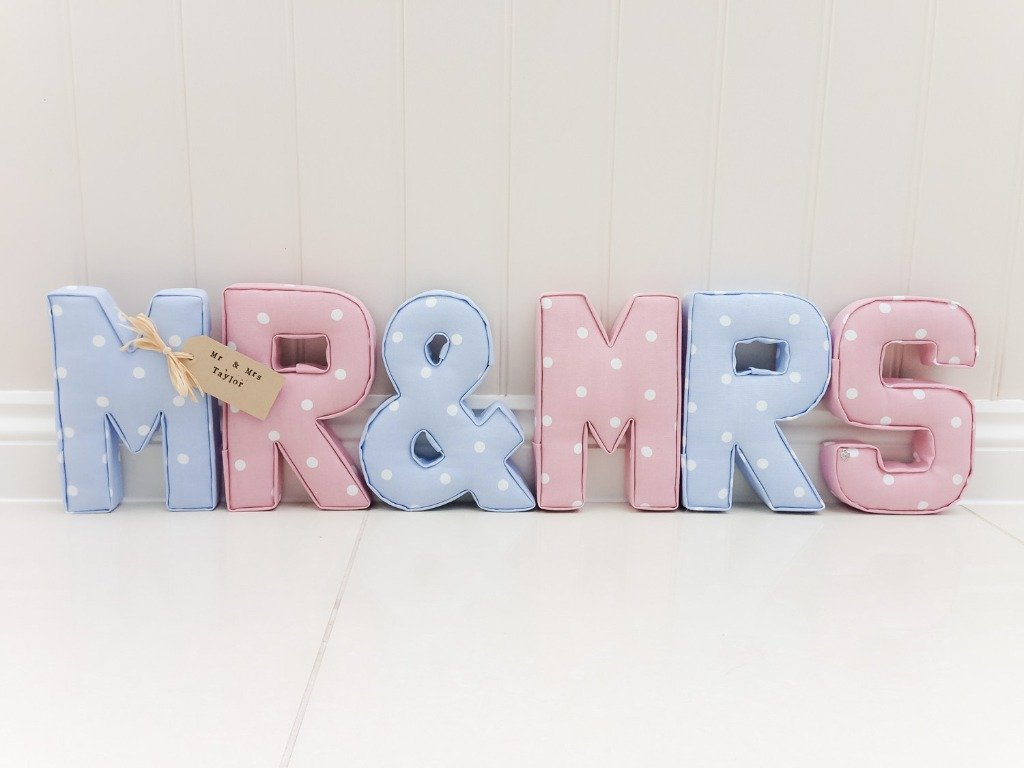 Mr& Mrs Nameset M&R Dotty Powder Blue RMS Dotty Rose Nameset Gallery