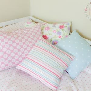 pinks and blues scatter cushion covers handmade to order various sizes