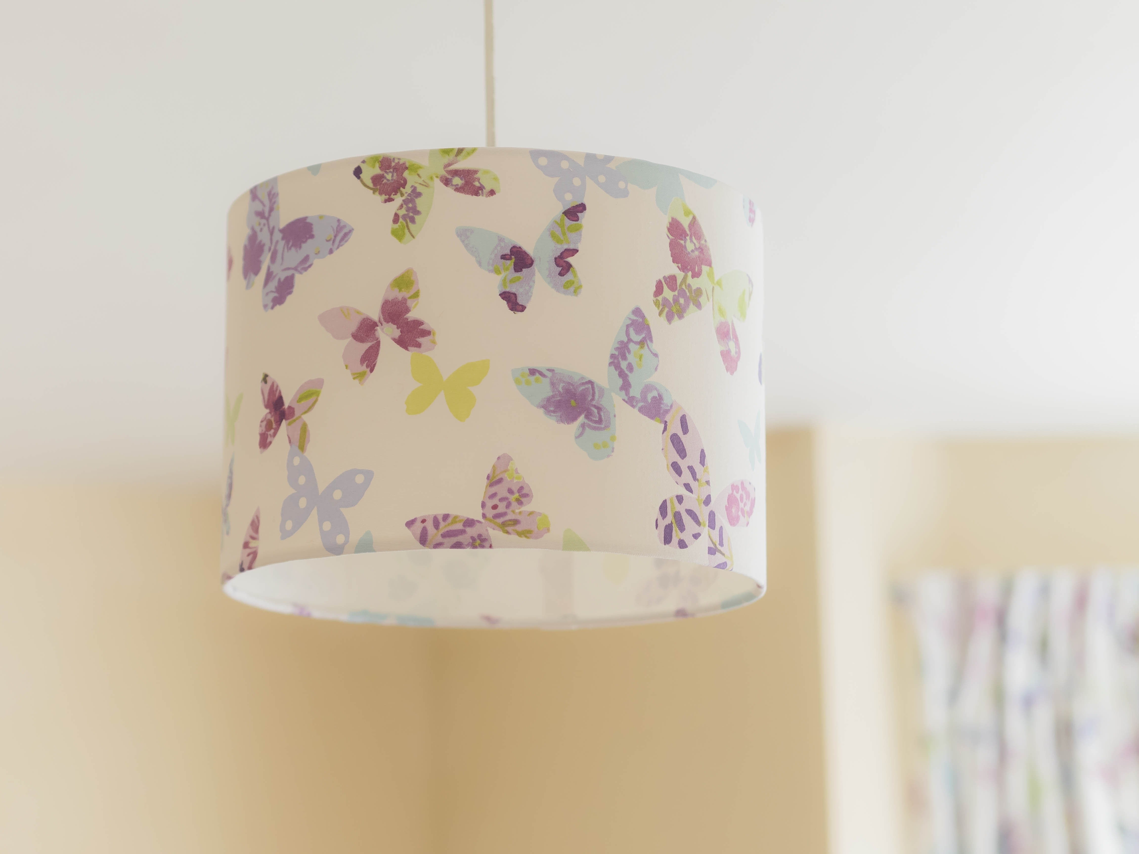 Fabric lampshade lilymae designs nursery home decor butterfly gardens lavender aloadofball Images