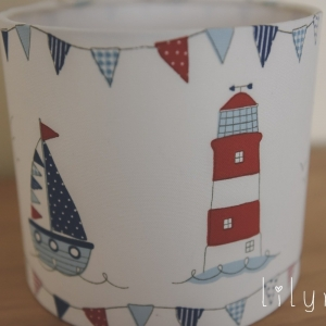 Seaside theme lampshade red, white and blue. Personalised lampshades to order