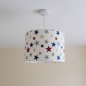 Funky Stars red personalised lampshade ceiling shade lilymae designs