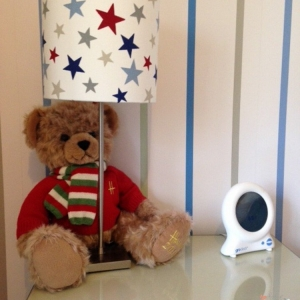 Personalised lampshade red and blue stars with teddy