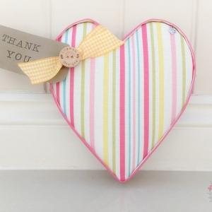 Fabric Hearts Ella Stripe Sunshine handmade to order. Great teacher gift, thank you gift, birthday gift