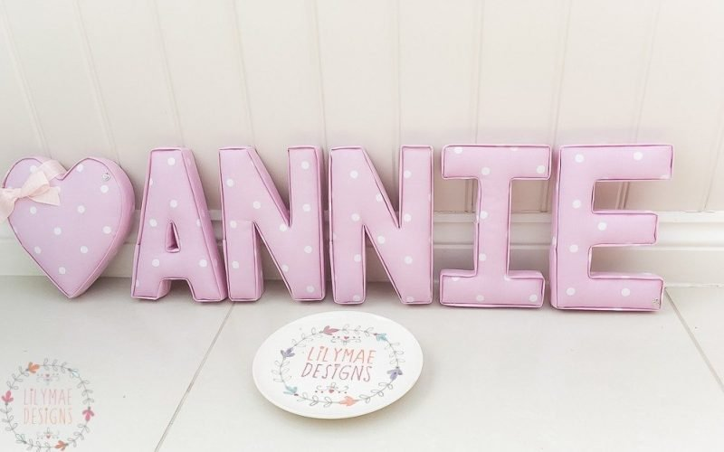 dotty baby pink, dotty pale pink fabric wall letters nursery wall art custom designs for childrens bedroom