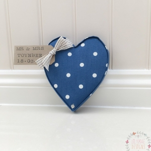 Fabric Hearts Dotty Denim. Navy fabric with white dots. Ideal gift for teacher, nan, mum, mothers day new home baby boy present under £20