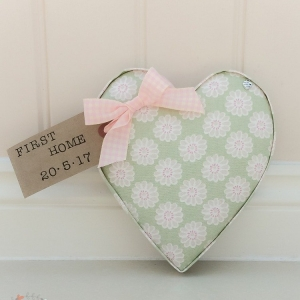 Fabric Hearts, daisy sage fabric Studio G. Sage wall decor. Personalised tag First Home present.