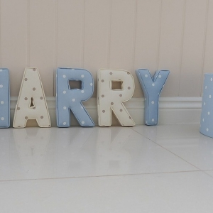 matching nursery decorations fabric letters Fabric Lampshade