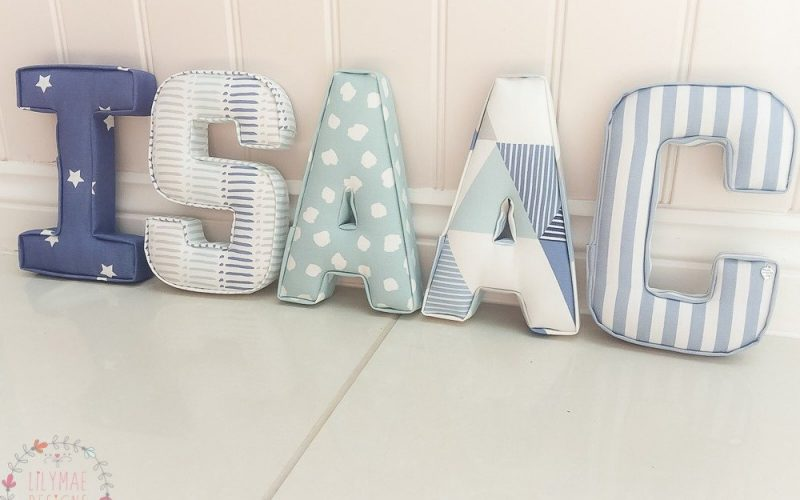 Isaac fabric wall initial letters in navy, pale blue and mineral
