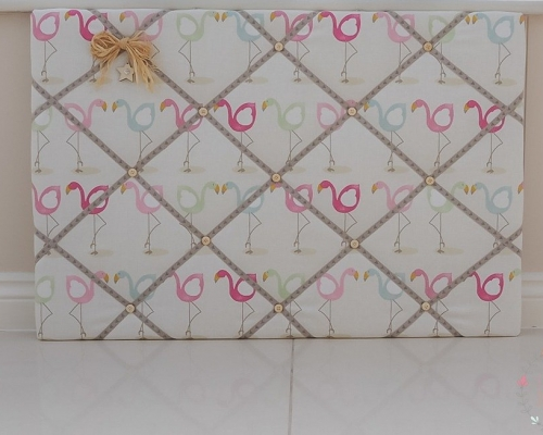 Fabric Memo board Large board in Flamingo fabric handmade to order in Colchester Essex Lilymae Designs.