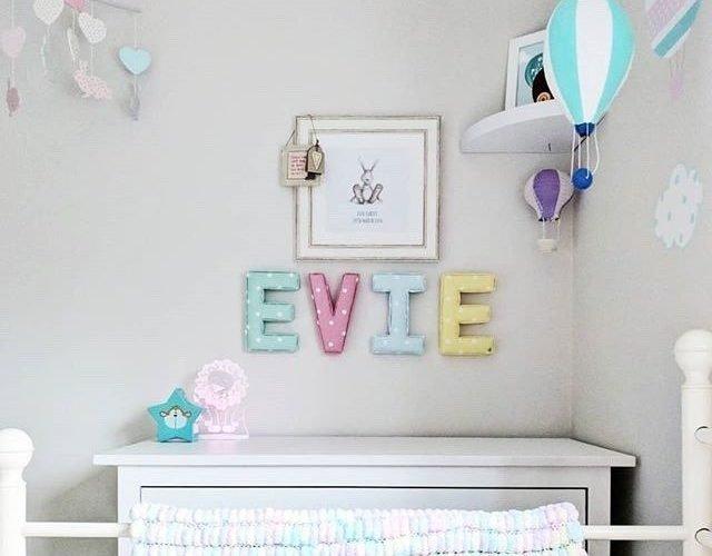 Customer reviews of Lilymae Designs. Personalised rainbow nursery wall letters Evie. Rainbow themed nursery