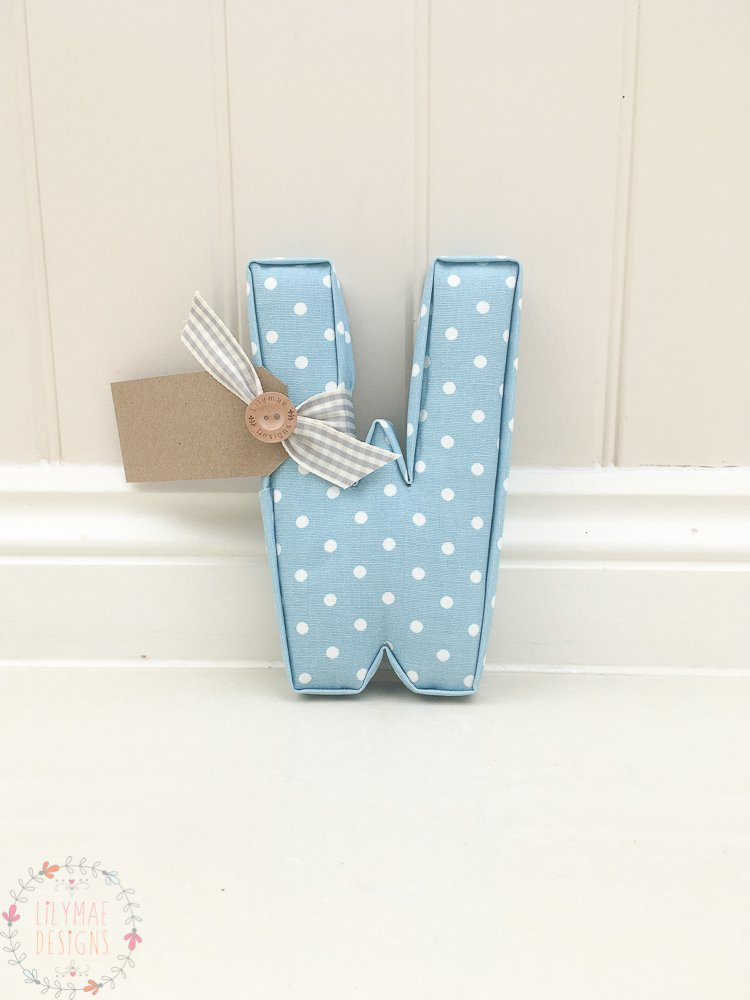 Blue Polkadot fabric letter Available now for next day dispatch. Nursery wall letter
