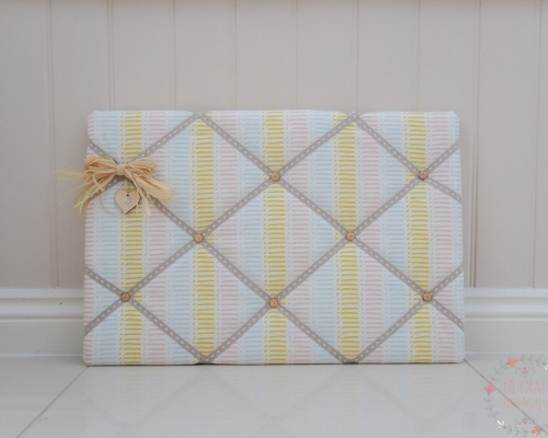 Small fabric memo board for kitchen. Dash sorbet fabric. Handmade to order in over 100 fabrics. Horse Rosette Board, Dog trial rosettes