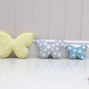 Butterfly set of three. Dotty Yellow, Clio Smoke, Clio Aqua. ★ Lilymae Designs ★  We offer many items including Extra Large Fabric Letters in sizes 22cm tall, 25cm tall, 30cm tall, 40cm tall as well as custom sizes on request. Fabric Hearts, Butterflies, Stars, Birds, Bunting, Memo Boards, Extra Large Memo Boards, Cushions, Lampshades, Curtains and Roman Blinds Available in any of our Clarke and Clarke and Prestigious Textiles fabrics. Our personalised custom made to order products make great nursery decor, wall decor and home decor in any room.  Also great gifts and presents, new baby, baby shower christening Little brother little sister niece nephew grandson godson granddaughter goddaughter first birthday children's birthday new home teacher dinner party gift mum present sister first home wedding best friends baby boy baby girl  flower girl  page boy  bridesmaid rainbow baby mother's day, Mom, Nan, Auntie, Christmas xmas babys first Christmas daughter son Twins Fraternal Twins  Support our small business today, each product is handmade to order here in the UK