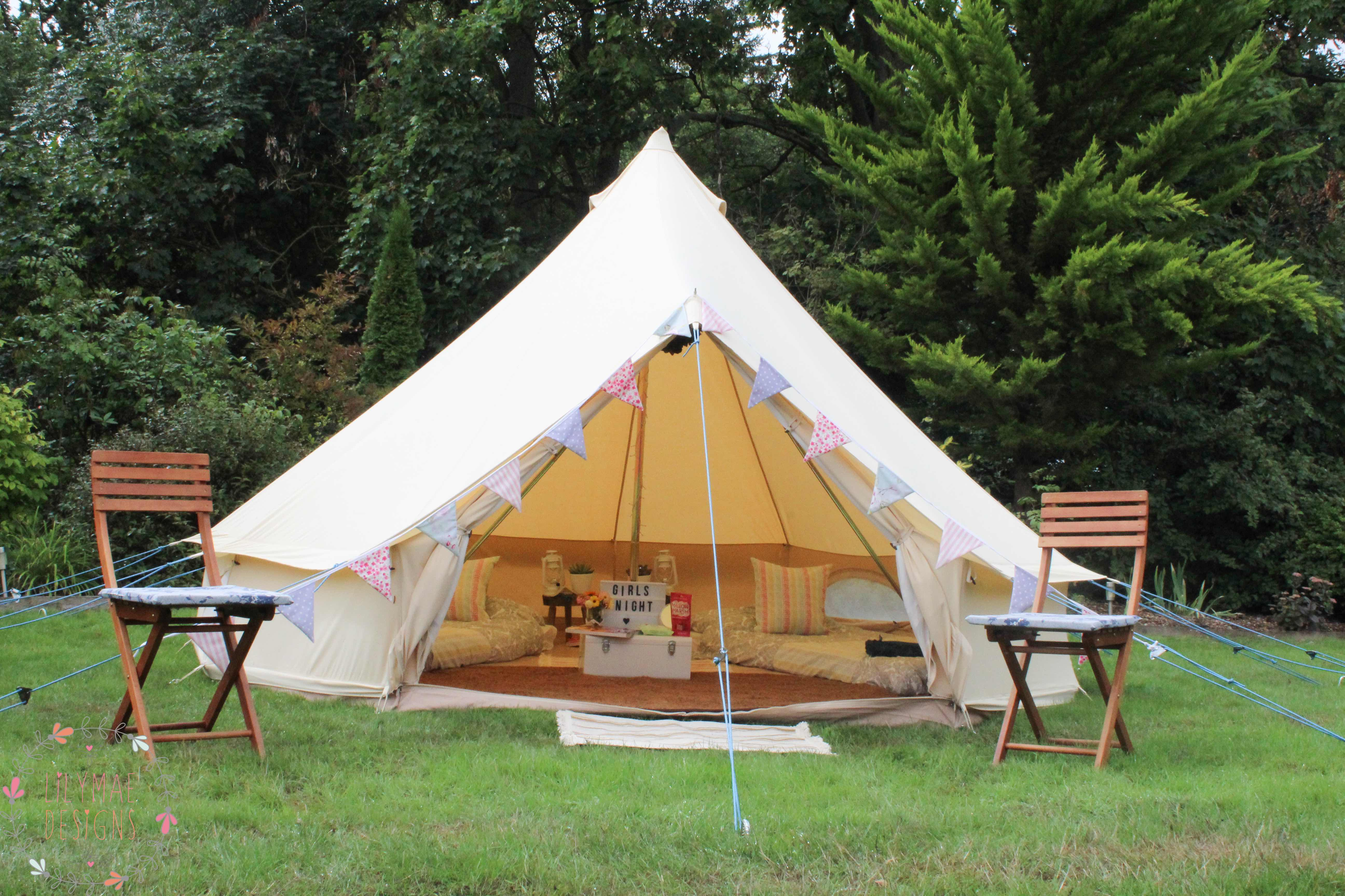 Bell Tent styling Party by Pitch Boutique featuring Lilymae Designs products, bunting, bed runners and cushions