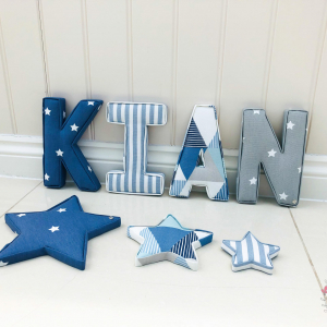 Stars ★ Lilymae Designs ★  We offer many items including Extra Large Fabric Letters in sizes 22cm tall, 25cm tall, 30cm tall, 40cm tall as well as custom sizes on request. Fabric Hearts, Butterflies, Stars, Birds, Bunting, Memo Boards, Extra Large Memo Boards, Cushions, Lampshades, Curtains and Roman Blinds Available in any of our Clarke and Clarke and Prestigious Textiles fabrics. Our personalised custom made to order products make great nursery decor, wall decor and home decor in any room.  Also great gifts and presents, new baby, baby shower christening Little brother little sister niece nephew grandson godson granddaughter goddaughter first birthday children's birthday new home teacher dinner party gift mum present sister first home wedding best friends baby boy baby girl  flower girl  page boy  bridesmaid rainbow baby mother's day, Mom, Nan, Auntie, Christmas xmas babys first Christmas daughter son Twins Fraternal Twins  Support our small business today, each product is handmade to order here in the UK