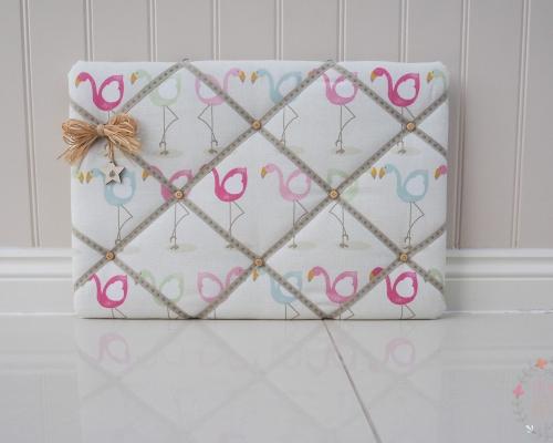Fabric Memo Board, Fryetts flamingo fabric. Pink flamingos. Memory Board, notice Board. Kitchen organiser. Christmas gift Mothers day present