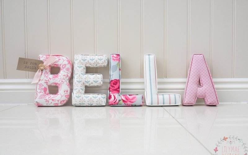 baby girl bedroom present, new baby present Bella fabric letters fast postage for present