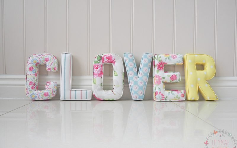 Girls fabric letters, white and yellow nursery ideas inspiration with pale pink and floral fabrics