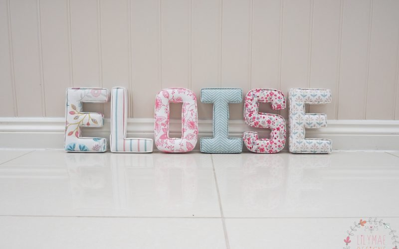 girls nursery ideas for wall 22cm fabric letters handmade to order Lilymae Designs