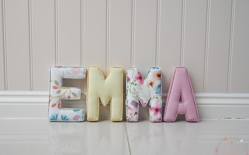 Emma fabric wall letters initials taupe yellow purple and pink baby room decor