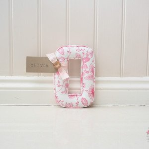 Pink Flower Wall Letter Fabric Letters Wall Alphabet Letter handmade in England, Uk Letter B made in Clarke and Clarke Studio G fabric Avril Rose, pink floral fabric. With a personalised name tag Is for Bella for us in babies nursery or childrens bedroom or playroom
