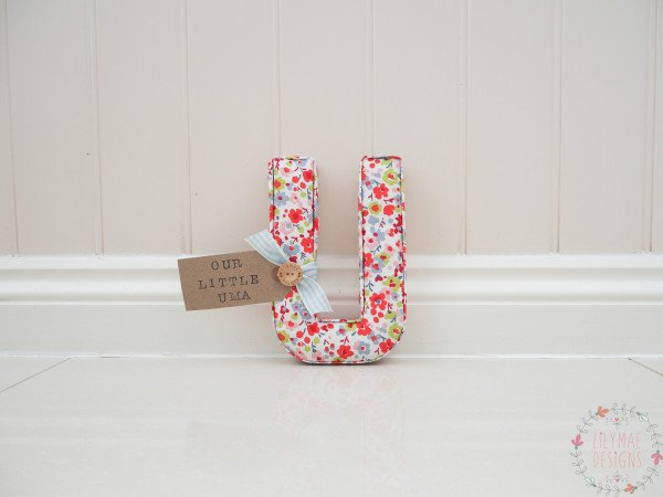 Personalised Wall letter red floral wall letter with green and blue floral detail. Handmade with a personalised nametag Our Little Una. Clarke & Clarke Confetti Multi fabric . Ideal Christmas gift for child.
