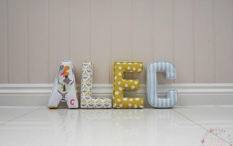 Circus theme fabric, Alex padded wall letters custom designs handmade to order Lilymae Designs