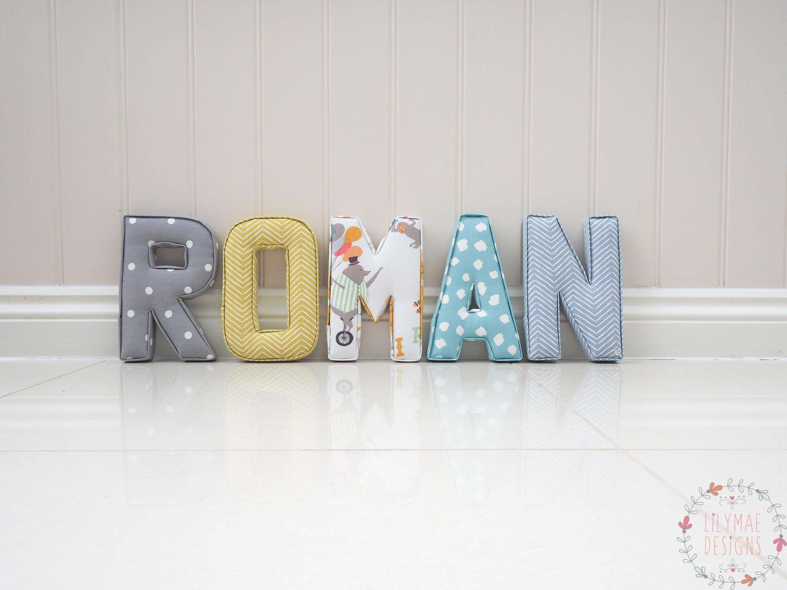 Roman Nameset R Dotty Smokey Grey, O Pica Citrus, M Circus Roll Up, A Clio Aqua, N Pica Chambray