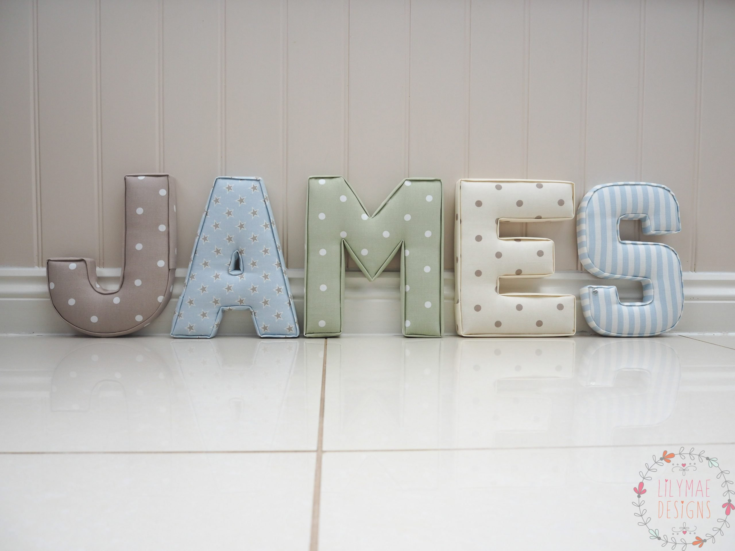 25cm Extra Large Letters James nameset J Dotty Taupe, A Shooting Star Sky, M Dotty Sage, E Dotty Natural, S Party Stripe Sky