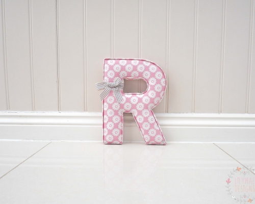 Extra Large Letter R in Daisy Pink Fabric Studio G 30cm Tall personalised nursery wall letter R with ribbon bow. Baby girl present. Pink Nursery decor