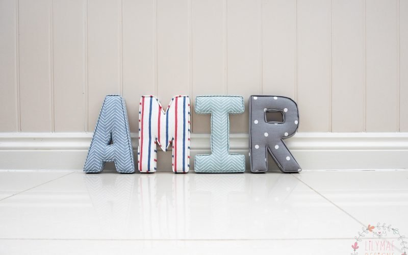 Amir boys name fabric wall letters. Red & White striped fabric, chevron blue, dotty grey fabrics. Shop small with Lilymae Designs