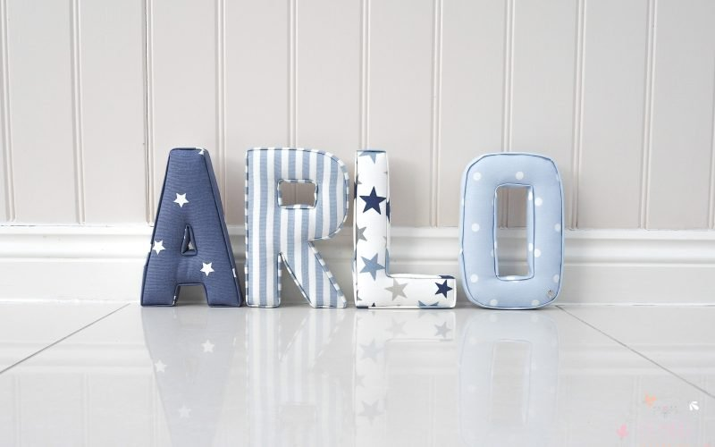 Blue and white fabric letters for boys bedroom
