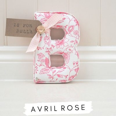 Fabric Wall Alphabet Letter handmade in England, Uk Letter B made in Clarke and Clarke Studio G fabric Avril Rose, pink floral fabric. With a personalised name tag Is for Bella for us in babies nursery or childrens bedroom or playroom