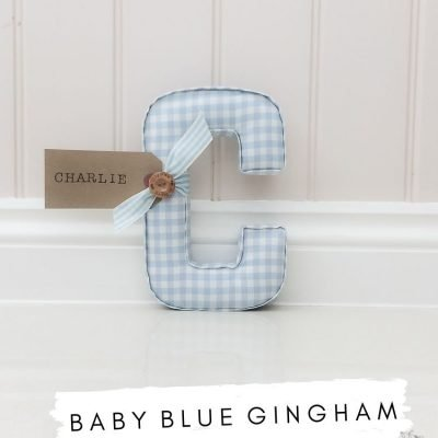 Baby Blue gingham fabric wall letter. C is for Charlie - name tag can be personalised to your custom request. These gorgeous letters are perfect for a boys nursery or a Childs bedroom decor