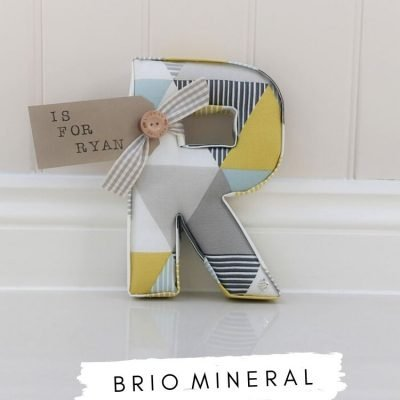Fabric Letters Brio Mineral. Mineral blue grey and yellow fabric Studio G Clarke & Clarke. Personalised nursery letter R with name tag Is for Ryan. Baby boy gift Lilymae Designs