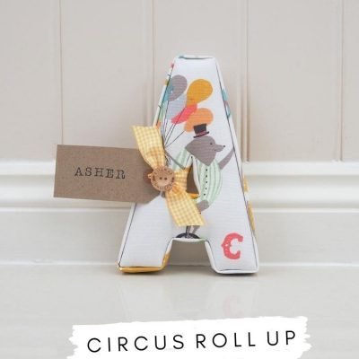 Fabric letters Circus Roll Up iliv fabric. White with circus detail. Personalised nursery decor with name tag Asher. Circus themed nursery bedroom. Baby gift