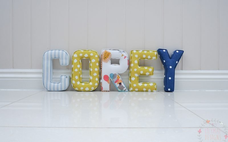 Corey fabric wall letters name boys name spelt out on wall or shelf letters pale blue, citrus yellow circus theme navy blue