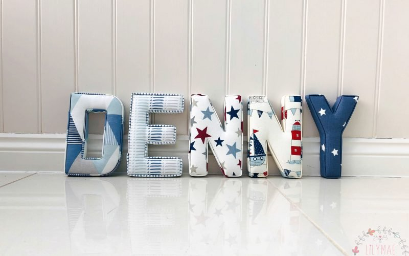 Denny fabric letters dark hues and red maritime fabrics baby boy gift